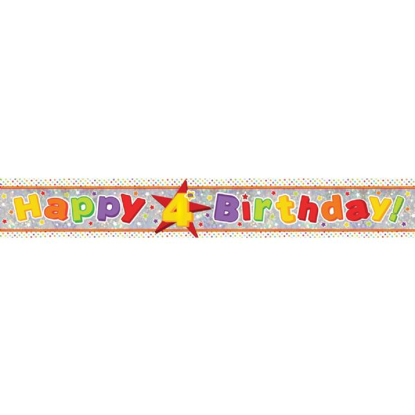 Holographic Happy 4th Birthday Foil Banner